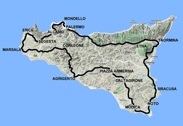 Cartina Sicilia Mondello.Tour Sicilia In Moto 2021 Itinerario Di 7 Giorni Ridermap
